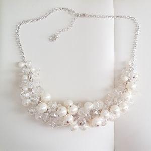 Simulated pearl and crystal bib necklace